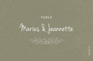 Marque-table mariage Provence olive