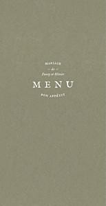 Menu de mariage blanc provence olive