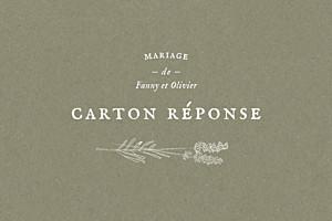 Carton réponse mariage vert provence olive