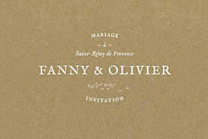 Carton d'invitation mariage Provence kraft
