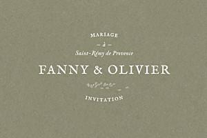 Carton d'invitation mariage Provence olive