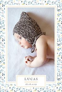 Faire-part de naissance liberty liberty coeur photo portrait bleu