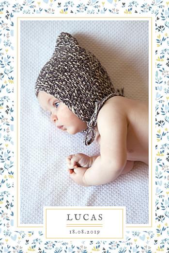 Faire-part de naissance Liberty coeur photo portrait bleu