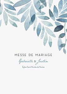 Livret de messe mariage bleu nuit d'été bleu