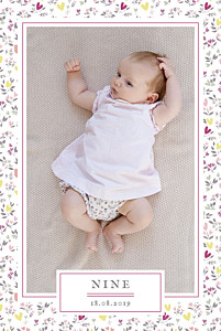 Faire-part de naissance violet liberty coeur photo portrait prune