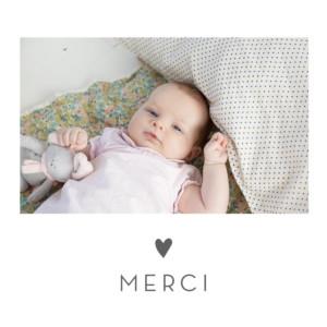 Carte de remerciement Merci élégant cœur photo gris