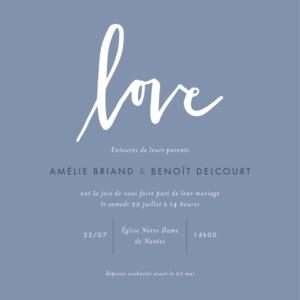 Faire-part de mariage Lettres d'amour bleu