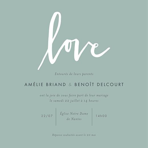 Faire-part de mariage Lettres d'amour vert