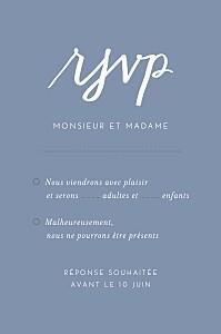 Carton réponse mariage Lettres d'amour bleu