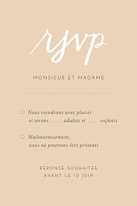 Carton réponse mariage Lettres d'amour rose