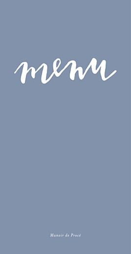 Menu de mariage Lettres d'amour bleu