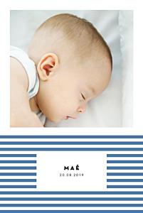 Faire-part de naissance Rayures pastel portrait bleu