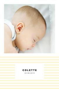 Faire-part de naissance Rayures pastel portrait jaune