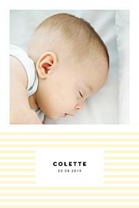 Faire-part de naissance classique rayures pastel portrait jaune