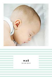 Faire-part de naissance bleu rayures pastel portrait vert