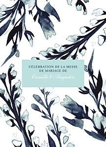 Livret de messe mariage Bleu de minuit bleu