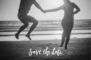 Save the Date Lettres d'amour bleu