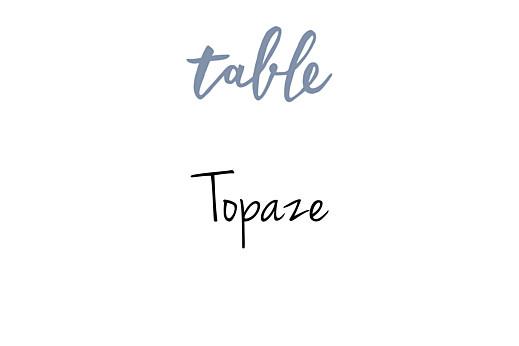 Marque-table mariage Lettres d'amour bleu