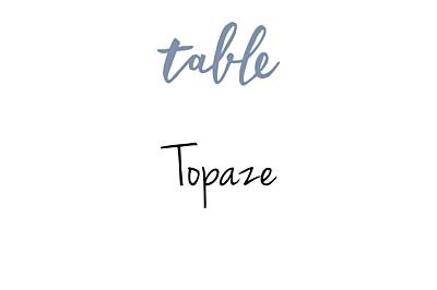 Marque-table mariage Lettres d'amour bleu finition