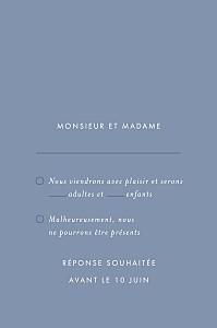 Carton réponse mariage moderne lettres d'amour (dorure) bleu