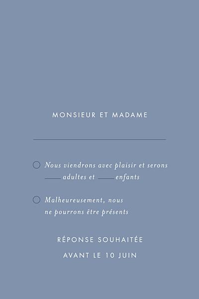 Carton réponse mariage Lettres d'amour (dorure) bleu finition
