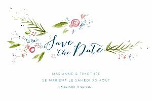 Save the date sans photo journée de printemps blanc