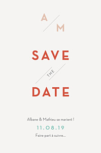 Save the date bleu graphique orange et turquoise