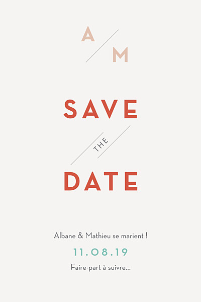 Save the Date Graphique orange et turquoise finition