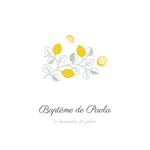 Faire-part de baptême sans photo citrons jaune