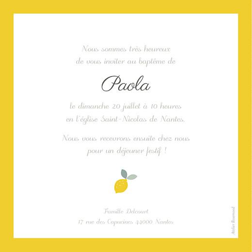Faire-part de baptême Citrons jaune - Page 2