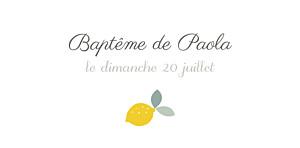Marque-place Baptême Citrons jaune