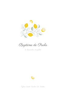 Livret de messe garçon citrons jaune