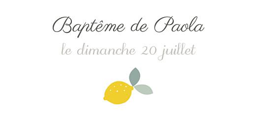 Etiquette perforée baptême Citrons jaune