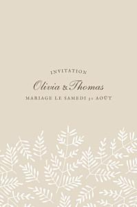 Carton d'invitation mariage beige mille fougères (portrait) beige