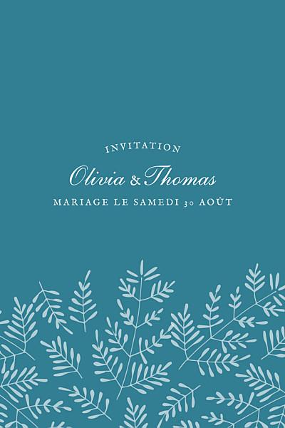 Carton d'invitation mariage Mille fougères (portrait) bleu finition