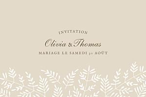 Carton d'invitation mariage Mille fougères beige
