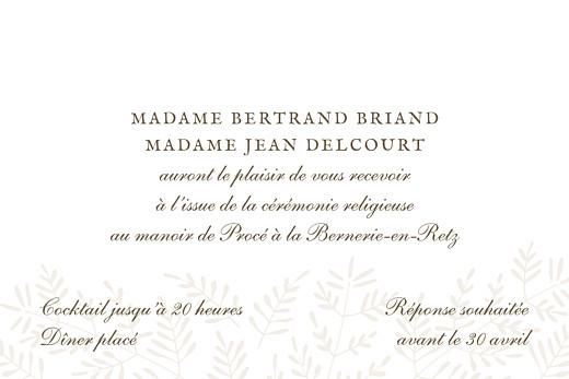 Carton d'invitation mariage Mille fougères beige - Page 2