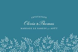 Carton d'invitation mariage Mille fougères bleu