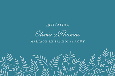 Carton d'invitation mariage Mille fougères bleu finition