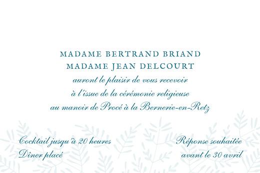 Carton d'invitation mariage Mille fougères bleu - Page 2