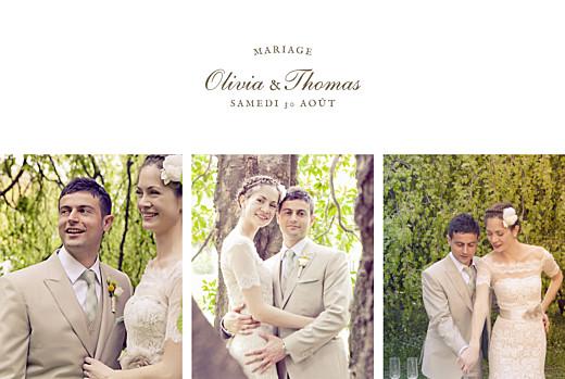 Carte de remerciement mariage Mille fougères beige