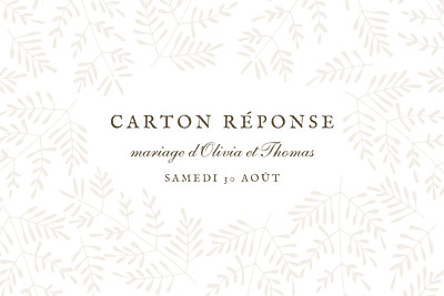 Carton réponse mariage Mille fougères beige finition