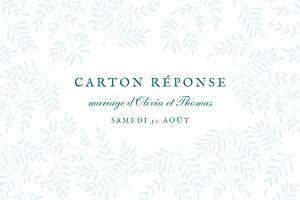 Carton réponse mariage Mille fougères bleu