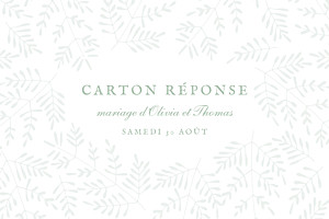 Carton réponse mariage vert mille fougères vert