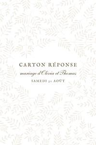 Carton réponse mariage beige mille fougères (portrait) beige
