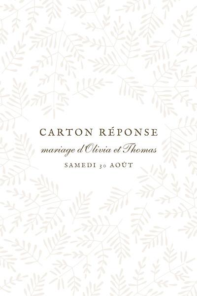 Carton réponse mariage Mille fougères (portrait) beige finition