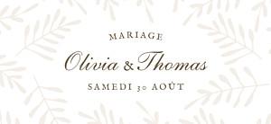 Etiquette de mariage classique mille fougères beige