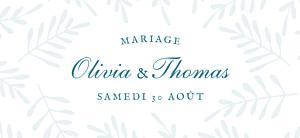 Etiquette de mariage bleu mille fougères bleu