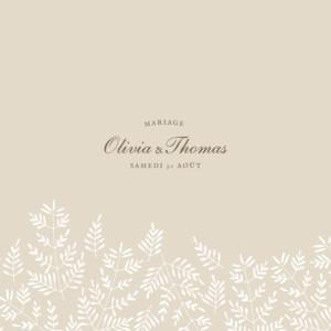 Faire-part de mariage Mille fougères (4 pages) beige