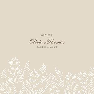 Faire-part de mariage hiver mille fougères (4 pages) beige